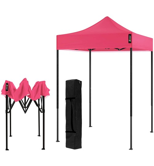 AMERICAN PHOENIX Canopy Tent 5x5 Pop Up Portable Tent Commercial Outdoor Instant Sun Shelter (5'x5' (Black Frame), Pink)