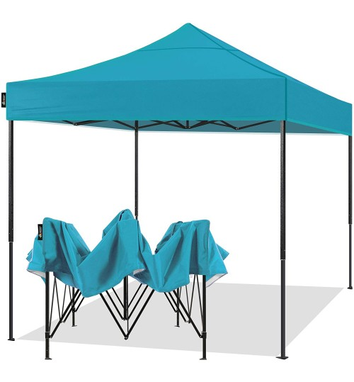 AMERICAN PHOENIX 10x10 Pop Up Canopy Tent Portable Instant Adjustable Easy Up Tent Outdoor Market Canopy Shelter (10'x10' (Black Frame), Teal)