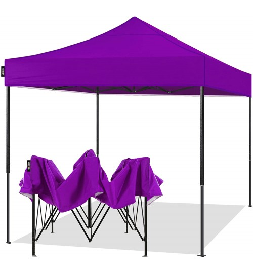AMERICAN PHOENIX 10x10 Pop Up Canopy Tent Portable Instant Commercial Tent Heavy Duty Outdoor Market Shelter (10'x10' (Black Frame), Purple)