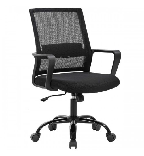 Middle Back Office Chair Computer Chair Net Cloth Adjustable, Patent Ergonomic Design, Long-Term Use Chair