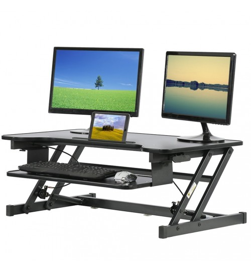 Adjustable 36 Inch Black Standing Desk Converter With Keyboard Tray Quick Sit To Stand